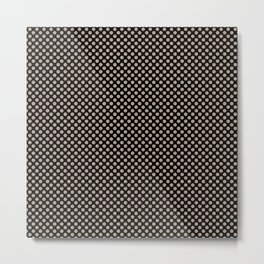 Black and Champagne Beige Polka Dots Metal Print