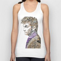 david tennant Tank Tops featuring David Tennant Dr. Who Text portrait by Mike Clements
