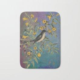 Flycatcher with Carolina Jasmine, Vintage Natural History and Botanical Bath Mat