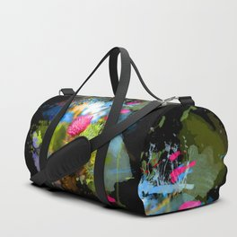 Vibrant painted thistle on black Duffle Bag