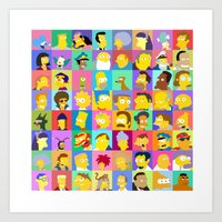 simpsons Art Prints featuring Simpsons by thev clothing