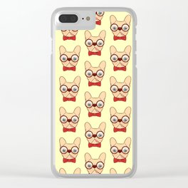 Preppy Frenchie is ready for school with his new bow tie Clear iPhone Case