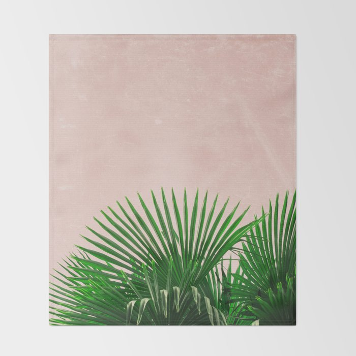 Palm Leaves On Pink Background Throw Blanket