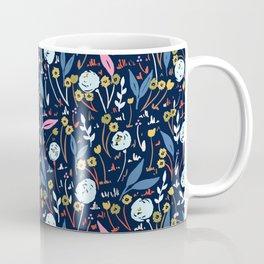 Ditsy Folk Dark Floral Pattern Coffee Mug