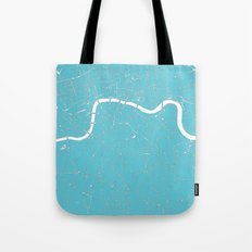 London Turquoise on White Street Map Tote Bag