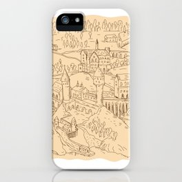 Medieval Fantasy Map Drawing iPhone Case