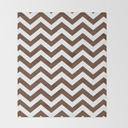 Chocolate Brown Chevron Zig Zag Pattern Throw Blanket