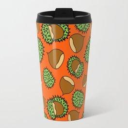 Chestnut and Chestnut Cupule Pattern Travel Mug