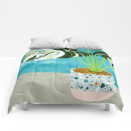 Variegated Monstera #tropical #painting #nature Comforters