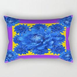 Purple Shades Pattern  Blue Dahlias Abstract Art Rectangular Pillow