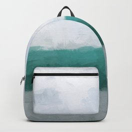 Aqua Teal Turquoise Sky Blue White Gray Abstract Wall Art, Painting Art, Water Surf Ocean Waves Backpack