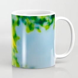 Fresh Green Tree Leaves In Summer, Tree Leaf, Intense Vivid Green, Nature In Summer, Environment Coffee Mug