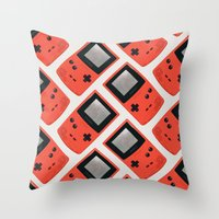 gameboy Throw Pillows featuring Gameboy Color: Red (Pattern) by Zeke Tucker