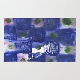Blue squares clouded watercolor Rug