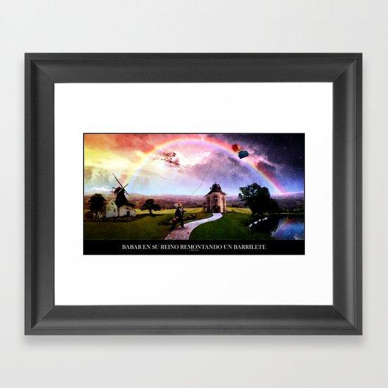 Babar en su reino remontando un barrilete Framed Art Print
