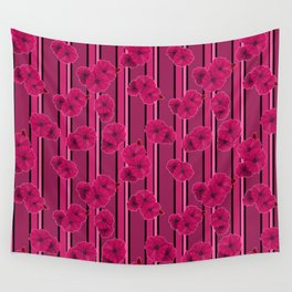 Floral pattern on striped background Wall Tapestry