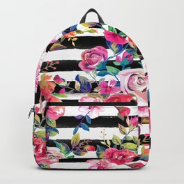 Cute spring floral and stripes watercolor pattern Backpack