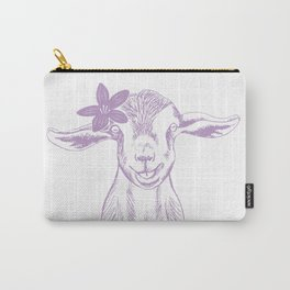 Smiling Goat with Flower #goat #babygoat Carry-All Pouch