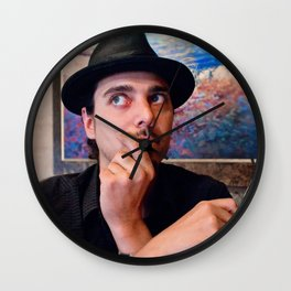 Self Portrait With Glasses and Hat Wall Clock