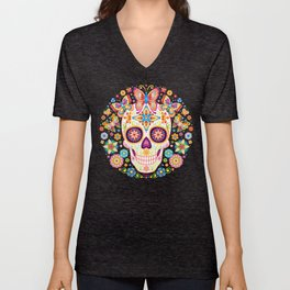 Sugar Skull Art - Sugar Skull with Butterflies and Flowers by Thaneeya McArdle Unisex V-Neck
