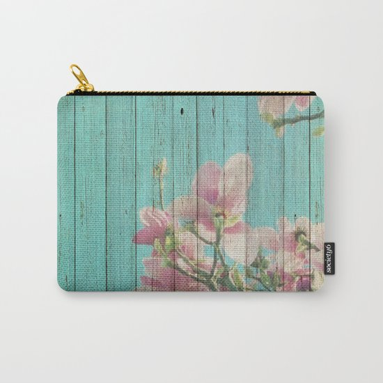 Sweet Flowers on Wood 08 Carry-All Pouch
