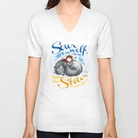 stiles V-neck T-shirts featuring Sterek Sleepy Wolf & Stiles I by siny