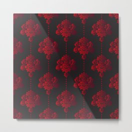 Red damask flowers and pearls on dark background Metal Print