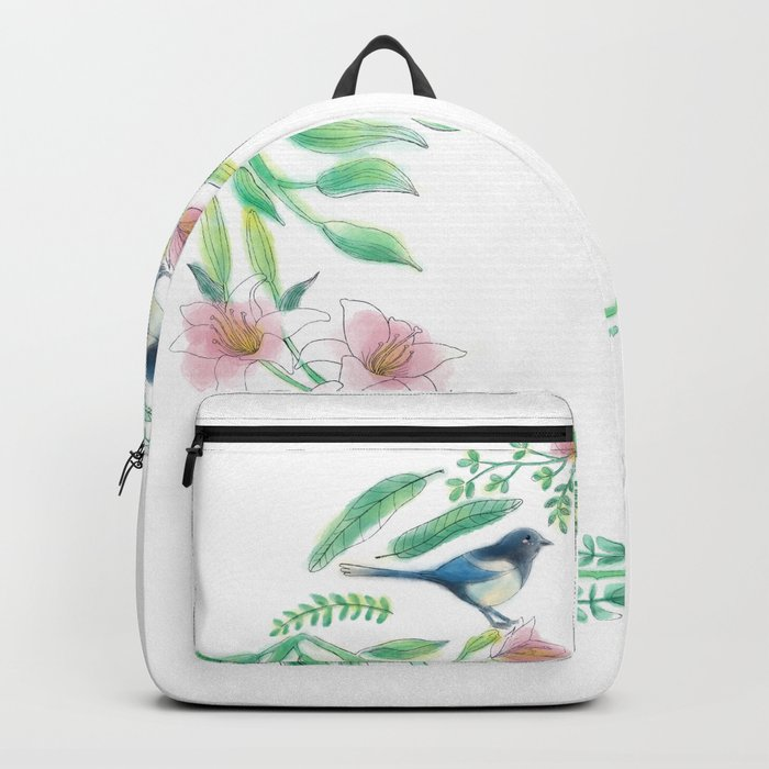 Happiness - Botanic bird water lily - Green, pink - Circle Backpack