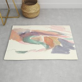 Abstract Southwestern Canyon Watercolor With Bright Colors Rug