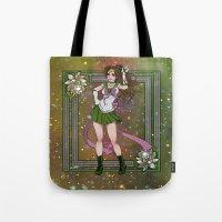sailor jupiter Tote Bags featuring Sailor Jupiter by Teo Hoble