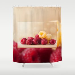 Fresh ripe red and golden raspberry fruits Shower Curtain