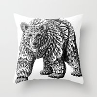 ornate Throw Pillows featuring Ornate Bear by BIOWORKZ