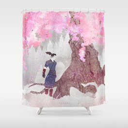 Tengami - Winter Cherry Tree (Portrait) Shower Curtain
