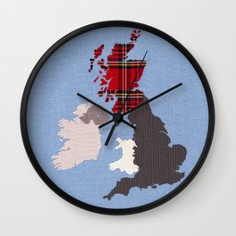 British Isles Fabric Map Art Wall Clock