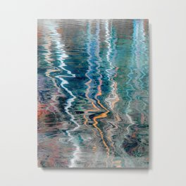 Abstract very colorful reflections of birch trees in water Metal Print