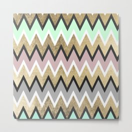 Modern abstract pink teal gold geometrical chevron Metal Print