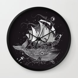 Great white whale and a sailing ship Wall Clock