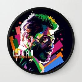 WPAP of Hugh Jackman by andikoartwork Wall Clock