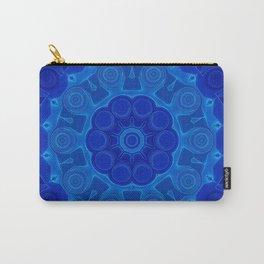 Shades of Blue Kaleidoscope Flower Art Carry-All Pouch