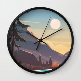 Mountain Sunset Illustration Wall Clock