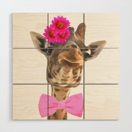 Giraffe funny animal illustration Wood Wall Art