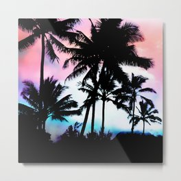 Sunset Summer Palm Trees Metal Print