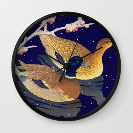 Kawase Hasui Vintage Japanese Woodblock Print Duck Lovers Blue Pond Snow Blossoms Wall Clock