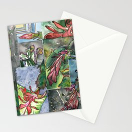 Christmas Cactus Collage Stationery Cards