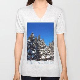 Winter forest roadside Unisex V-Neck