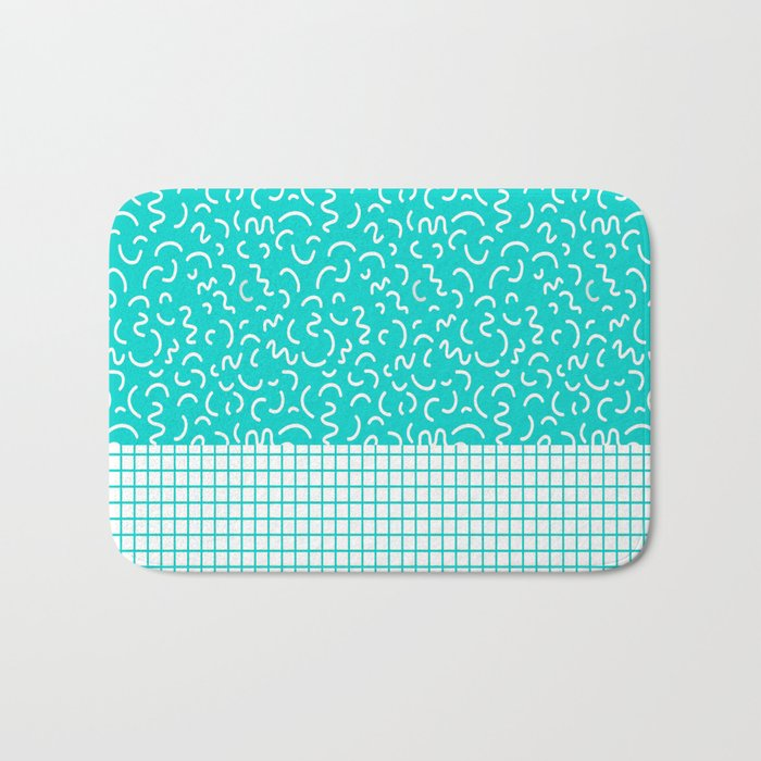 Hockney - Bright blue, memphis, 80s, 90s, swimming pool, summer turquoise  design cell phone, phone Bath Mat by charlottewinter
