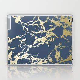 Kintsugi Ceramic Gold on Indigo Blue Laptop & iPad Skin