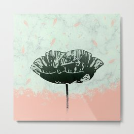 Beautiful Poppy Flower on Marble Design Metal Print