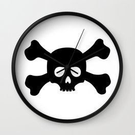 Simple Black Skull and Crossbones Wall Clock