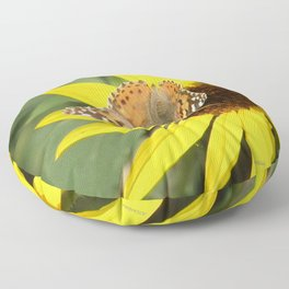 Painted Lady Butterfly Picks Pollen Floor Pillow